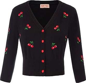 Belle Poque Girls Cute Vintage Cherries 3/4 Sleeve Front Buttons Embroidered Cardigan Shrug Floral-1(609-1) X-Large