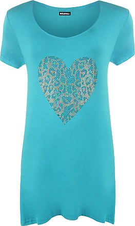 WearAll Womens Plus Size Gold Animal Heart Hanky Hem Ladies Short Sleeve Long Top - Turquoise - 22/24