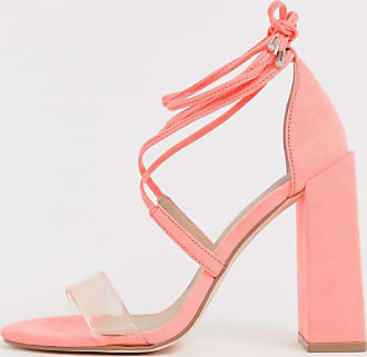 11cdb0a787 Asos Wide Fit Hadley barely there block heeled sandals in neon pink