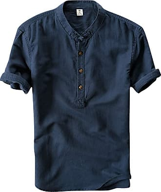 Yonglan Mens Linen Shirts Casual Stand Collar Short Sleeve Solid T Shirt Navy 3XL