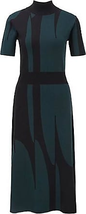 BOSS Mock-neck knitted dress with abstract pattern