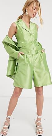 Unique21 UNIQUE 21 high waisted shorts in shimmer fabric co-ord-Green
