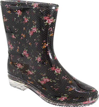 Universal Textiles Womens/Ladies Floral Wellington See-Through Heel Boot (7 UK) (Black/Floral)