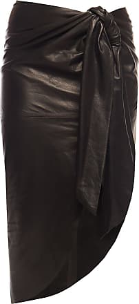 Balmain Asymmetrical Leather Skirt Womens Black