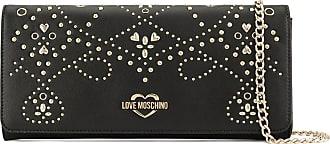 Love Moschino Clutch Galvanic de couro - Preto