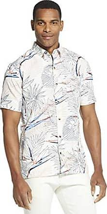 Van Heusen Men/'s Size Tall Slim Short Sleeve Button Down Rayon Poly Shirt Blue