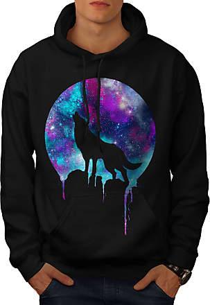 wellcoda Forest Wolf Moon Light Mens Sweatshirt Howl Casual Jumper