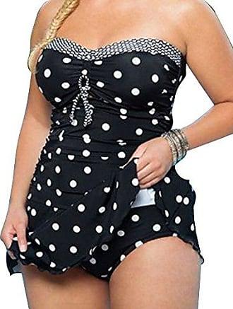 9f130ad9409f7e Gladiolus Damen Tankinis Bademode Große Größen Bikini-Sets, Elegant Punkt  Zweiteiliger Badeanzüge Schwarz 3XL