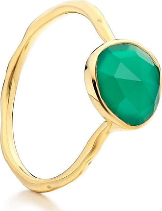 Monica Vinader Siren Stacking Green Onyx ring - GOLD