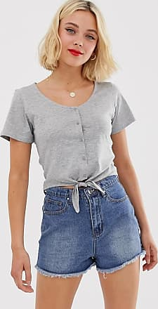 Brave Soul Kurzes T-Shirt mit Schnürung vorn und Knöpfe-Grau