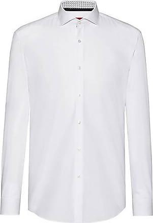 a38ce3e5acb488 HUGO BOSS Slim-Fit Hemd aus Baumwolle mit Logo-Print auf der Innenseite