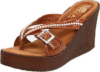 Sbicca Womens Horizon Snake Wedge Sandal,Cognac Snake,10 B US