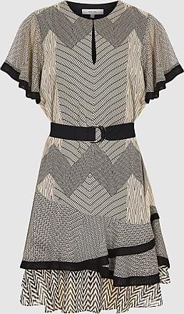 Reiss Hannah - Printed Mini Dress in Black/neutral, Womens, Size 14