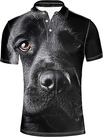 Hugs Idea Black Dog 3D Print T-Shirt Mens Regular-Fit Sport Tennis Shirt Hipster Fashion Short Sleeves for Golf Bowling