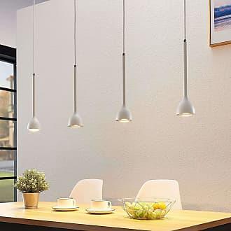 Lucande Lámpara colgante Nordwin, 4 luces, blanco-plateado