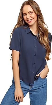 oodji Womens Short Sleeve Viscose Blouse, Blue, UK 4 / EU 34 / XXS