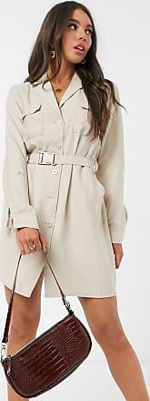 Pimkie belted button front dress in beige