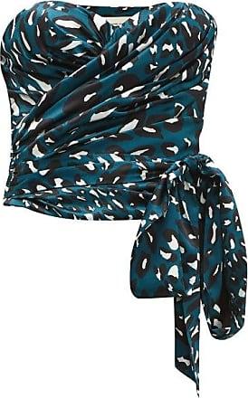 Alexandre Vauthier Leopard-print Stretch-satin Bustier Top - Womens - Blue Print