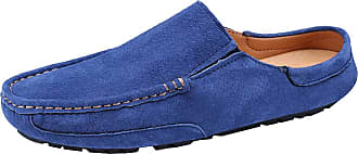 Jamron Mens Comfortable Suede Carpet Slippers Mules Driving Loafers Moccasins RoyalBlue SN19058 UK9