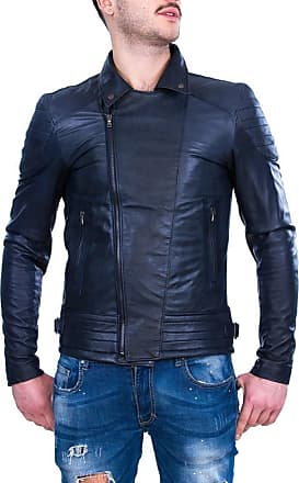 Leather Trend Italy Chiodo Napoli - Giacca Uomo in Vera Pelle colore Blu Invecchiato