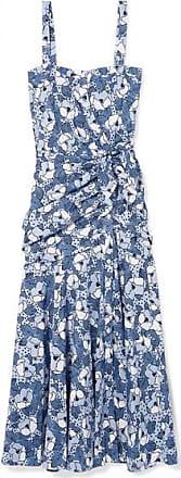 Veronica Beard Marena Gathered Printed Cotton-poplin Midi Dress - Blue