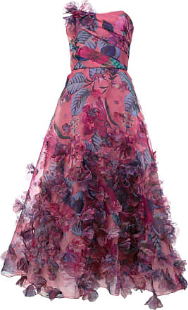 Marchesa floral print strapless ball gown - Pink