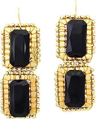 Tinna Jewelry Brinco Dourado Retângulos Caseados Com Bolinhas E Pastilha de Resina (Preta)