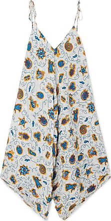 Loewe + Paulas Ibiza Asymmetric Printed Crepon Dress - Blue