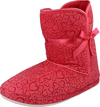 Spot On Ladies Spot On Heart Pattern Boot Slippers X2018 - Fuchsia Fabric - UK Size 5-6 - EU Size 38-39