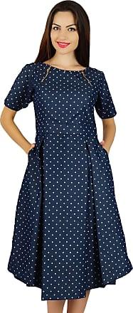Bimba Womens Blue Chambray Pleated Dress with Pockets Chic Casual Midi Dresses
