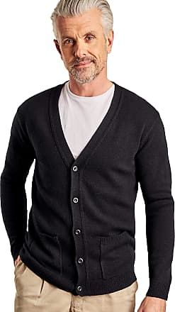 WoolOvers Mens Lambswool V Neck Knitted Cardigan Black, M