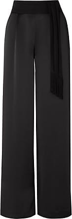 Rachel Zoe Delta Belted Grosgrain-trimmed Satin Wide-leg Pants - Black