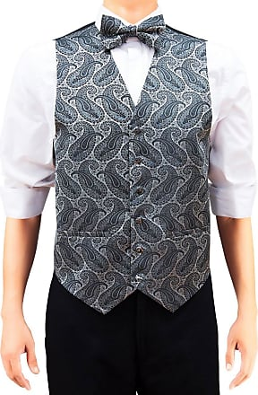 Retreez Mens Paisley Art Pattern Woven Suit Waistcoat Set with Matching Tie, Pre-Tied Bow Tie, Pocket Square, 4 Pieces Gift Set as a Birthday, Silver on Black