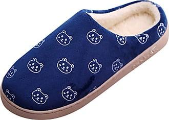 Yvelands MACIVAN Unisex Women Mens Comfort Memory Foam Slippers Anti-Slip Cartoon Bear Plush Fleeoral Fleece Warm Lined Rubber Sole Shoes Waterproof Non-Slip I