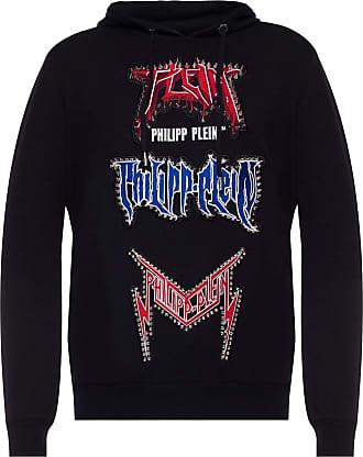 Philipp Plein Hooded Patched Sweatshirt Mens Black