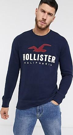Hollister Sweatshirt mit Rundhalsausschnitt und Logo in Marineblau-Navy
