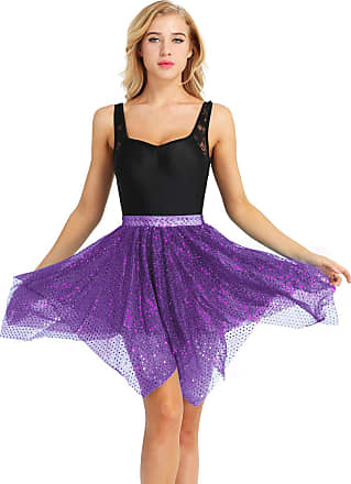 TiaoBug Womans Sparkle Running Asymmetric Layered Skirts City Skirts Running Tutu Ballet Latin Dance Skirt Purple One Size