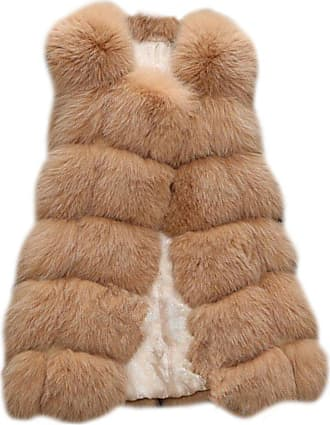 ZongSen Womens Faux Fur Vest Gilets Coat Jacket Sleeveless Long Waistcoat Camel XXL