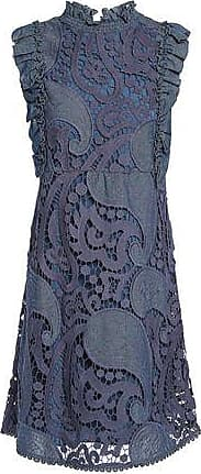 See By Chloé See By Chloé Woman Ruffled Twill-trimmed Cotton-blend Guipure Lace Mini Dress Indigo Size 36