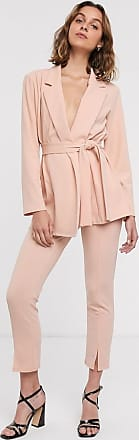 Asos Pantalon de tailleur en jersey fendu coupe slim - Blush-Rose