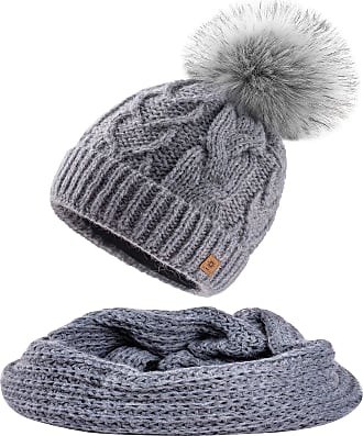 morefaz Set Scarf & Hat Women Mohair Wool Winter Beanie Hat Worm Knitted Neck Hats Fleece Pom Pom (Grey Set Hat&Scarf)