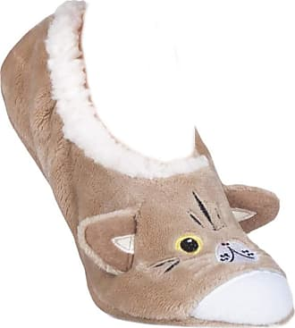 SockShop Ladies 1 Pair Wild Feet Tabby Cat Fleece Lined Fleece Slippers Assorted 4-8 Ladies