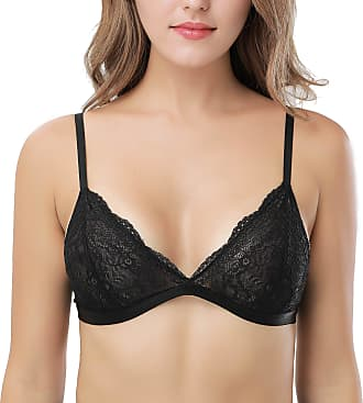 Wingslove Women Semi Sheer Triangle Bralette Non Padded Wireless Sexy Lace Bra Top (Mysterious Black, 32DD)