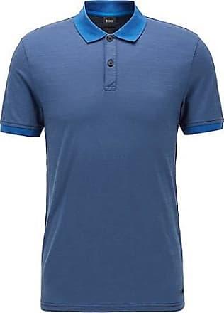BOSS Poloshirt aus strukturierter Baumwolle mit Streifen an Kragen und Ärmelbündchen