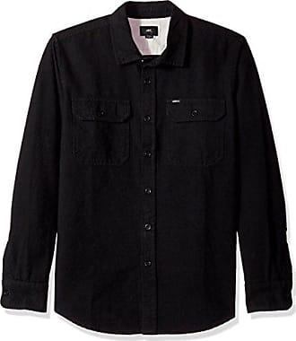 Obey Mens Minor Long Sleeve Woven Shirt, Black, XXL