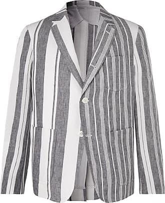 Thom Browne Grey Unstructured Striped Linen Blazer - Gray