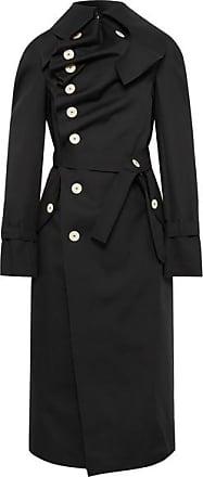 A.W.A.K.E. Draped Cotton-gabardine Trench Coat - Black