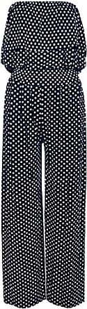 Islander Fashions Womens Bandeau Polka Dot Jumpsuit Ladies Front Frill Wide Leg Palazzo Jumpsuit Navy X Large UK 16-18