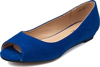 Dream Pairs Dories Womens Peep Toe Ballet Slip On Flats Shoes Royal Blue Size 6.5 US/4.5 UK