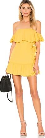 Superdown Jolene Ruffle Wrap Dress in Mustard
